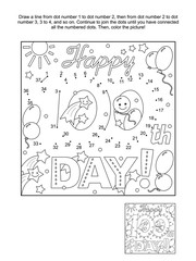 100th day of school learning celebration themed connect the dots picture puzzle and coloring page  - Happy 100th day! - greeting text. Answer included.