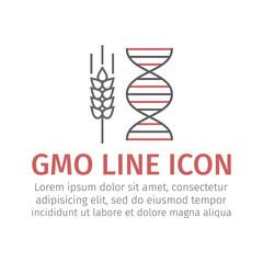 GMO wheat line icon. Vector sign.