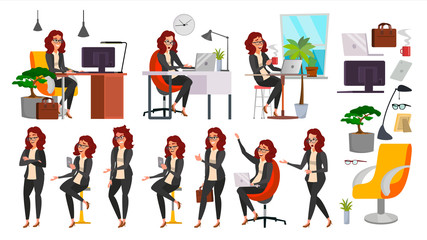 Business Woman Lady Character Vector. Working Female In Action. IT Startup Business Company. Clerk In Office Clothes. Desk. Full Length. Girl Programmer. Expressions. Business Character Illustration