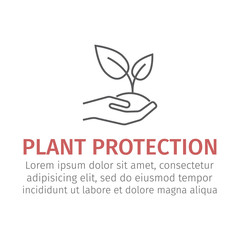 Plant protection line icon.. Vector sign.