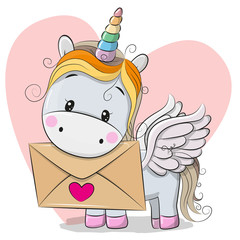Valentine card with cute cartoon Unicorn