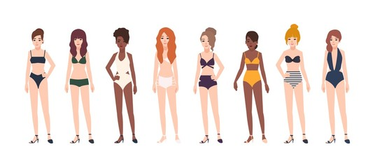 Collection of young women dressed in swimwear isolated on white background. Set of beautiful girls wearing swimsuits. Miss bikini competition. Female cartoon characters. Colorful vector illustration.