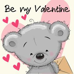 Valentine card with cute cartoon Teddy Bear