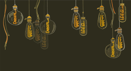 A set of lamps of Edison. Glowing words in electrodes: life, dream, idea