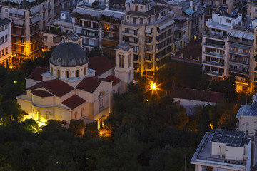 View of Athens from Lycabettus hill at dawn, Greece.