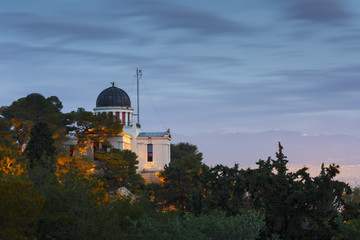 Morning view of the National Observatory on the Hill of Nymphs in Athens, Greece.