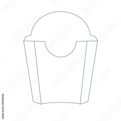 Paper French Fries Box Front View With Trendy Line Style Package Design Concept
