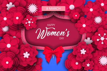 Women day background. 8 march women's day greeting card. Happy Womens Day.  Card for 8 March women's day. Abstract background womens day with vintage frame and paper flower. Vector illustration.