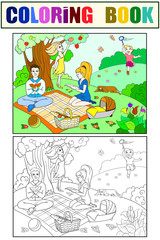 Picnic in nature coloring book for children cartoon vector. Color, Black and white