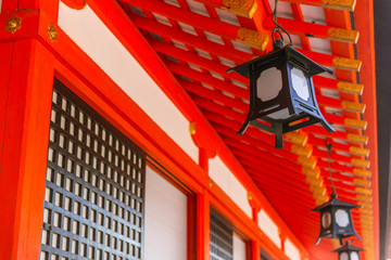 Japanese Lamp Decoration in Red Shrine or Temple in Japan