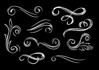 Set of chalkboard style flourish elements. Modern chalk effect flourish elements for invitations, wedding, birthday isolated on black background. Vector illustration.