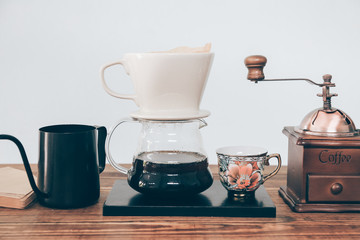 Collection coffee drip set on the wood table.
