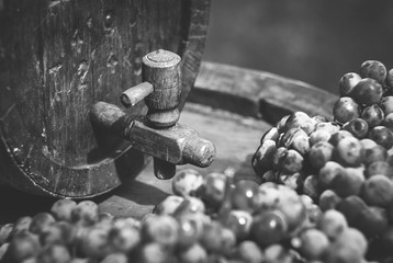 Wine barrel in wine cellar