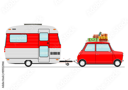 Cartoon car with a caravan side view flat vector - Caravane dessin ...
