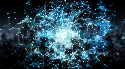 Connections system sphere and datas exchanges 3D rendering