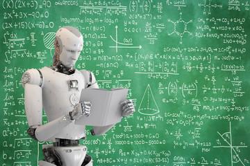 robot reading book