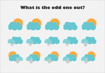 What is the odd one out with pictures of weather for children, fun education game for kids, preschool worksheet activity, task for the development of logical thinking, vector illustration