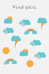 Find pairs of identical pictures, fun education game with cloud, sun, rainbow for children, preschool worksheet activity for kids, task for the development of logical thinking, vector illustration