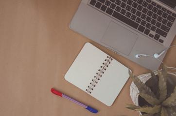 Laptop brown background