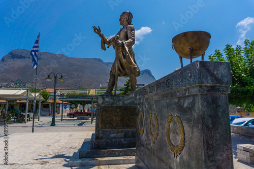 The statue of the famous greek hero who started the greek