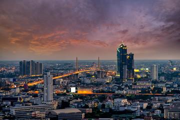 Wall Mural - Sunset scence of Rama 9 Bridge at Chaopraya river at Bangkok Thailand.