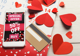 Valentine day internet sales and online shopping