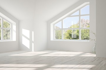 White empty room with summer landscape in window. Scandinavian interior design. 3D illustration