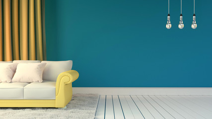 Room interior with blue wall and pillows on yellow sofa with white carpet and three lamps. 3D rendering