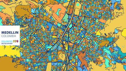 Medellin,Colombia, Colorful Vector Artmap