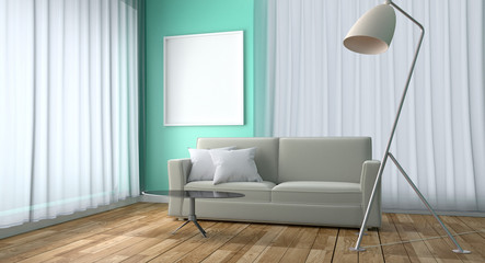 Mint Living Room Interior Design - Green mint style with sofa table lamp and frame, wooden floor on green mint wall background. 3D rendering