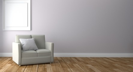 Room Interior has a sofa and lamp on empty white wall background,3D rendering