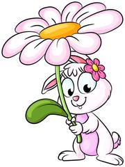 Niedlicher Osterhase mit großer Blume - Vektor-Illustration