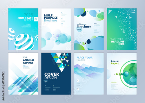 Set Of Brochure, Annual Report, Flyer Design Templates In A4 Size. Vector  Illustrations  Flyer Samples Templates