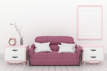 Living Room Interior - Pink elegant style with fame sofa clock and plant, white wood floor on empty white wall. 3D rendering