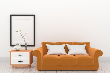 frame and orange furniture style. 3D rendering