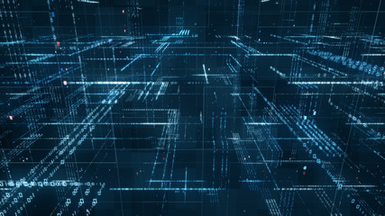 Digital binary code matrix background - 3D rendering of a scientific technology data binary code network conveying connectivity, complexity and data flood of modern digital age