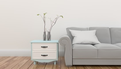 Cabinet with plant and pillow on gray sofa in front of empty white background wall .3D rendering