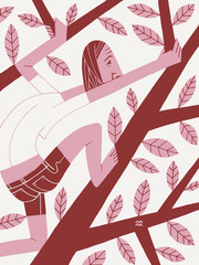 Woman Climbs a Tree