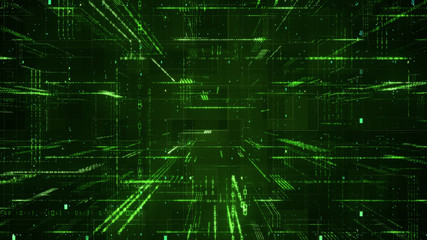 Digital binary code matrix background - 3D rendering of a scientific technology data binary code network conveying connectivity, complexity and data flood of modern digital age Wall mural