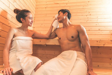Young Asian Couples Or Lovers Have Romantic Relaxing In Sauna Room