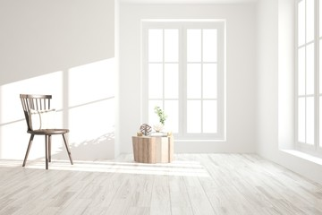 Inspiration of white minimalist room with chair. Scandinavian interior design. 3D illustration