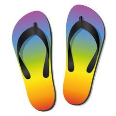 Flip flops - rainbow colored summer sandals - isolated vector illustration on white.