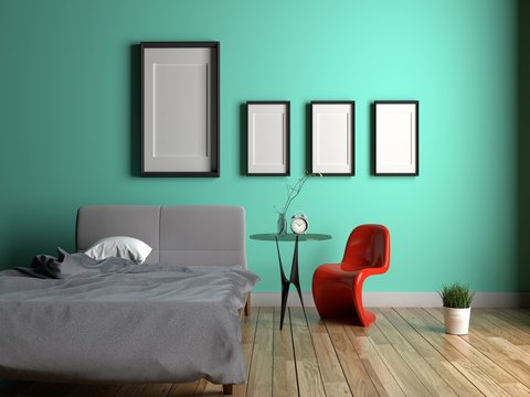 Mint Bedroom Interior with chair, table, frame, clock, plants on wooden floor on green mint wall. 3D rendering