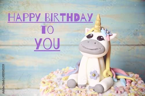 Einhorn Kuchen Torte Fondant Happy Birthday Stock Photo And