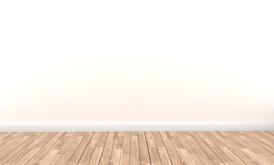 Empty style - Wooden floor on White wall background. 3D rendering