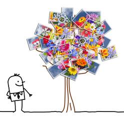 Cartoon Man Watching a Flowering photographic Tree