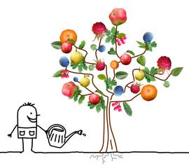 Cartoon Gardener Watering Multi Fruits Tree