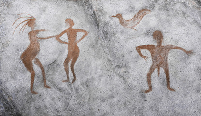 image of ancient people, birds ocher on the wall of the cave. archeology. history.