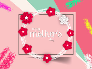 Mothers Day greeting card. Happy Mothers Day design in trendy style. Mothers Day typography. Vintage design, graphics.