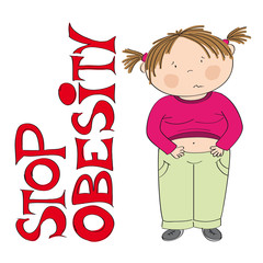 Stop obesity - unhappy fat girl standing next to the STOP OBESITY sign - original hand drawn illustration